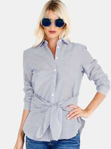 Striped Collared Button Down Tie Top BLUE