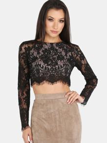 Sleeved Lace Crop Top BLACK
