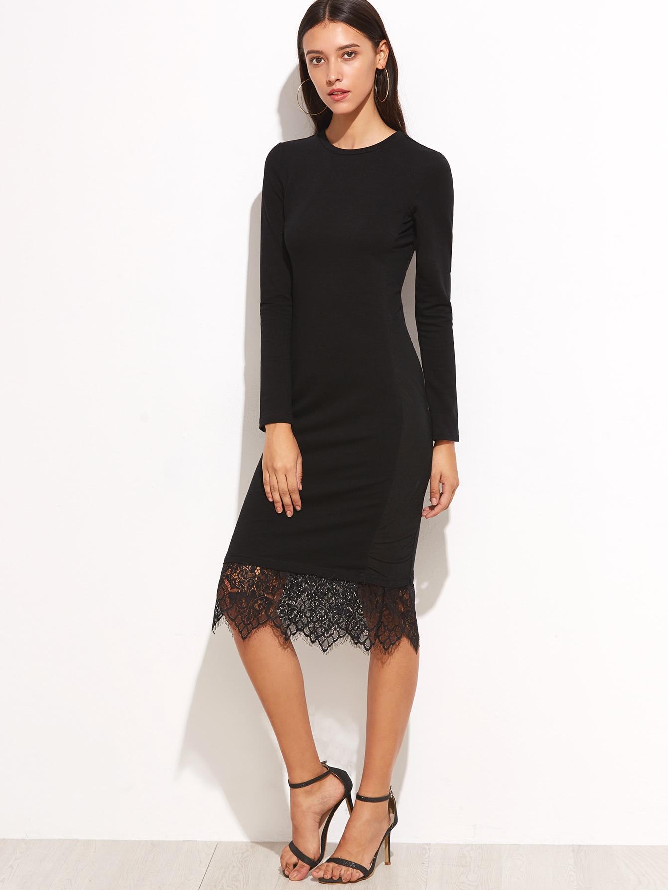 Lace Trim Midi Pencil Dress