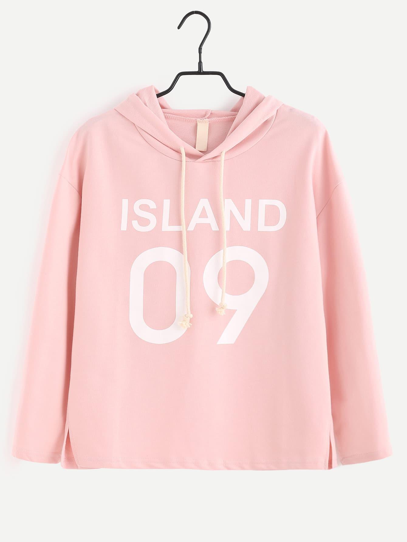 Pink Letter Print Slit Side Hooded T-shirt tee160919003