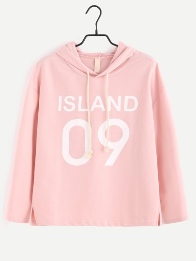 Slogan Print Slit Side Hooded T-shirt