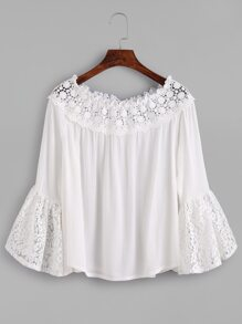 White Boat Neck Lace Crochet Trim Pleated Top