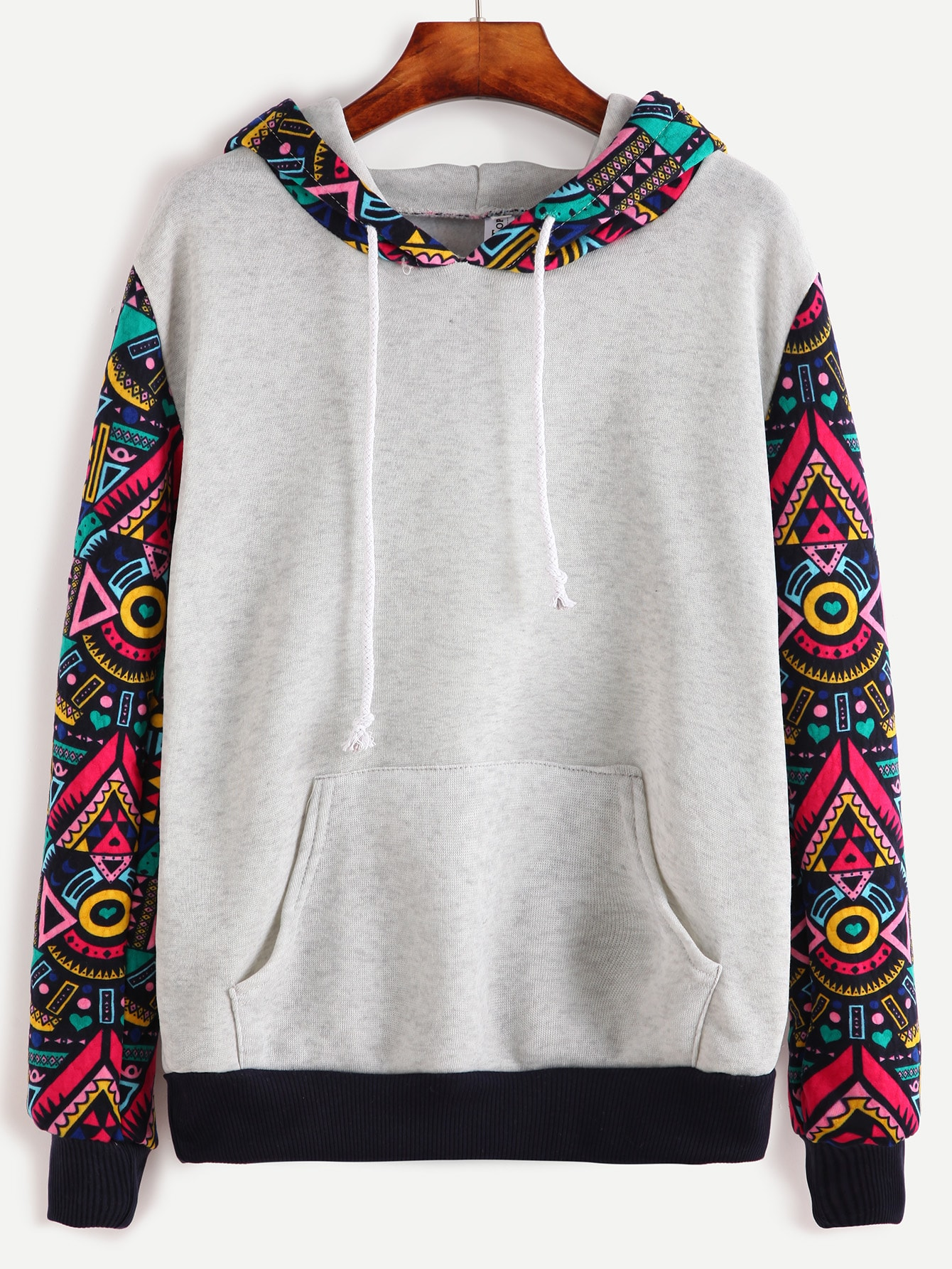 Contrast Sleeve And Hooded Sweatshirt With Kangaroo Pocket grey layered contrast color hooded strappy front sweatshirt
