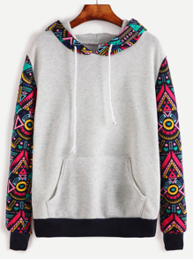 Grey Contrast Sleeve Hooded Sweatshirt