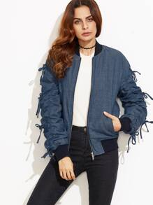 Blue Bow Tie Shirred Sleeve Chambray Bomber Jacket