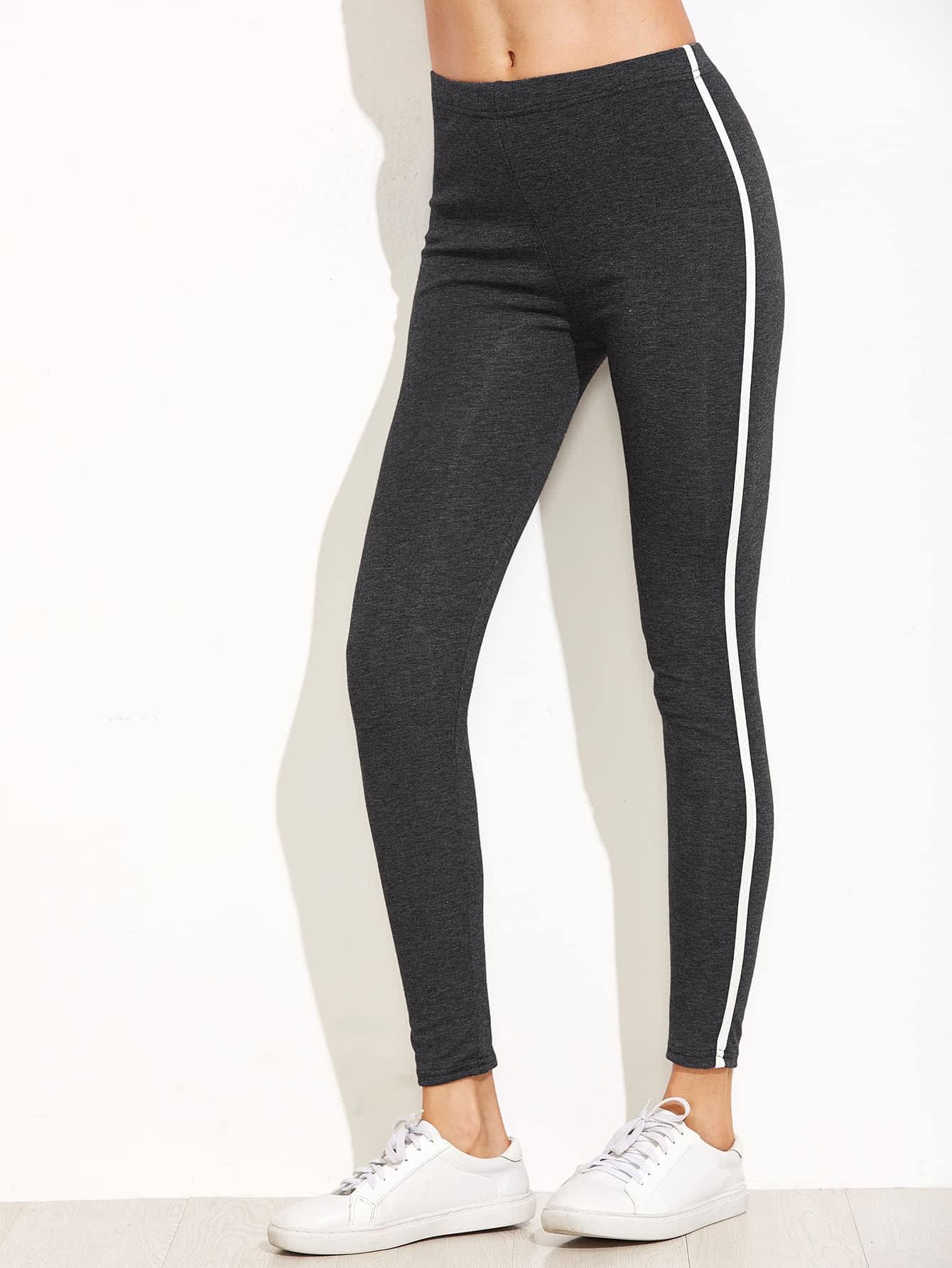 Dark Grey Striped Side Leggings