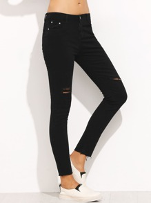 Black Ripped Denim Jeans With Rolled Hem
