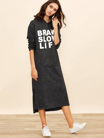 Heather Black Letter Print Side Slit Hoodie Dress