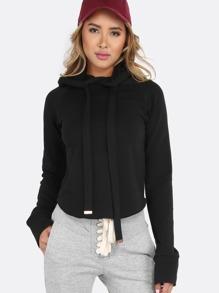 Sudadera corta con capucha sin bolsillo - negro