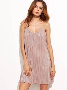 Pink Pleated Deep V Neck Slip Short Dress