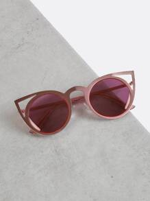 Round Cut Out Cat Eye Sunglasses PINK