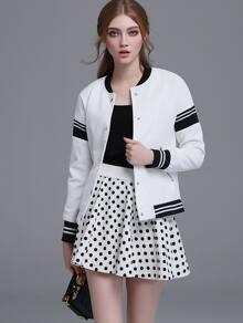 White Striped Hidden Button Front Jacket