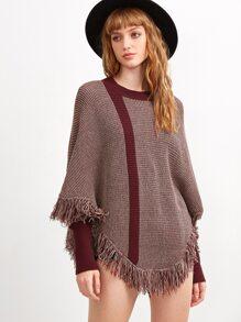 Pull cape tricoté avec frange - bordeaux