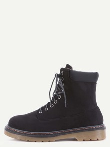 Black Faux Suede Lace Up Rubber Soled Martin Boots