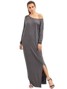 Темно-серый Наклонная плеча Boatneck втулки летучей мыши щелевая платье