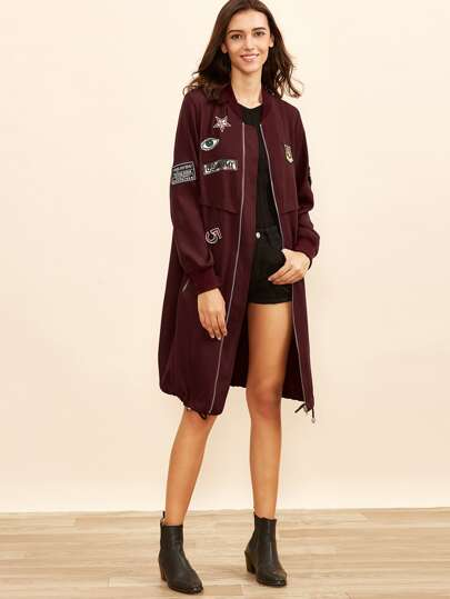 Burgundy Zip Up Bomber Coat With Embroidered Patch Detail