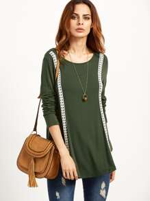 Olive Green Curved Hen T-shirt With Dotted Crochet Detail