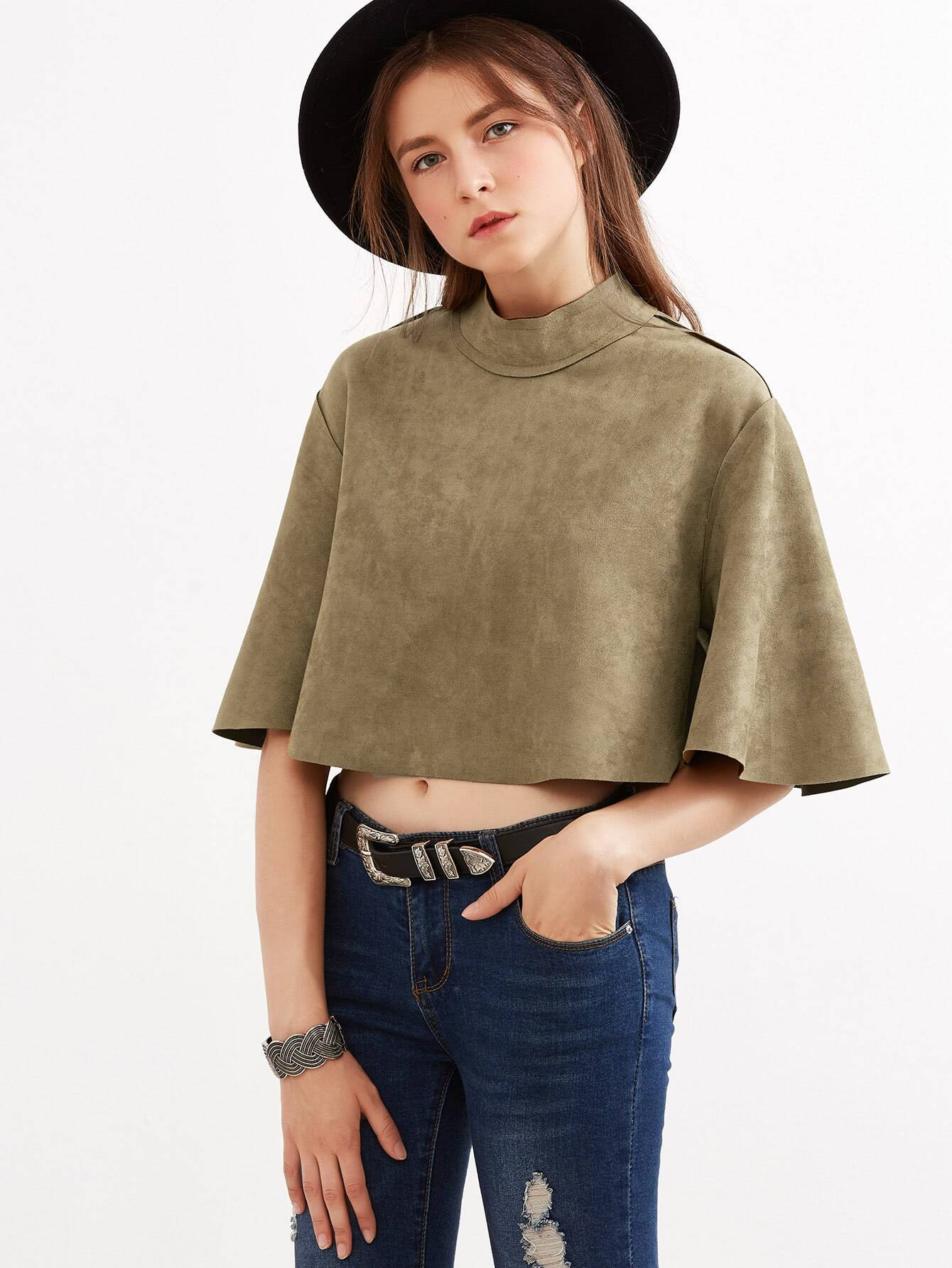 Army Green Mock Neck Zipper Back Crop Cape TopArmy Green Mock Neck Zipper Back Crop Cape Top<br><br>color: Army Green<br>size: one-size