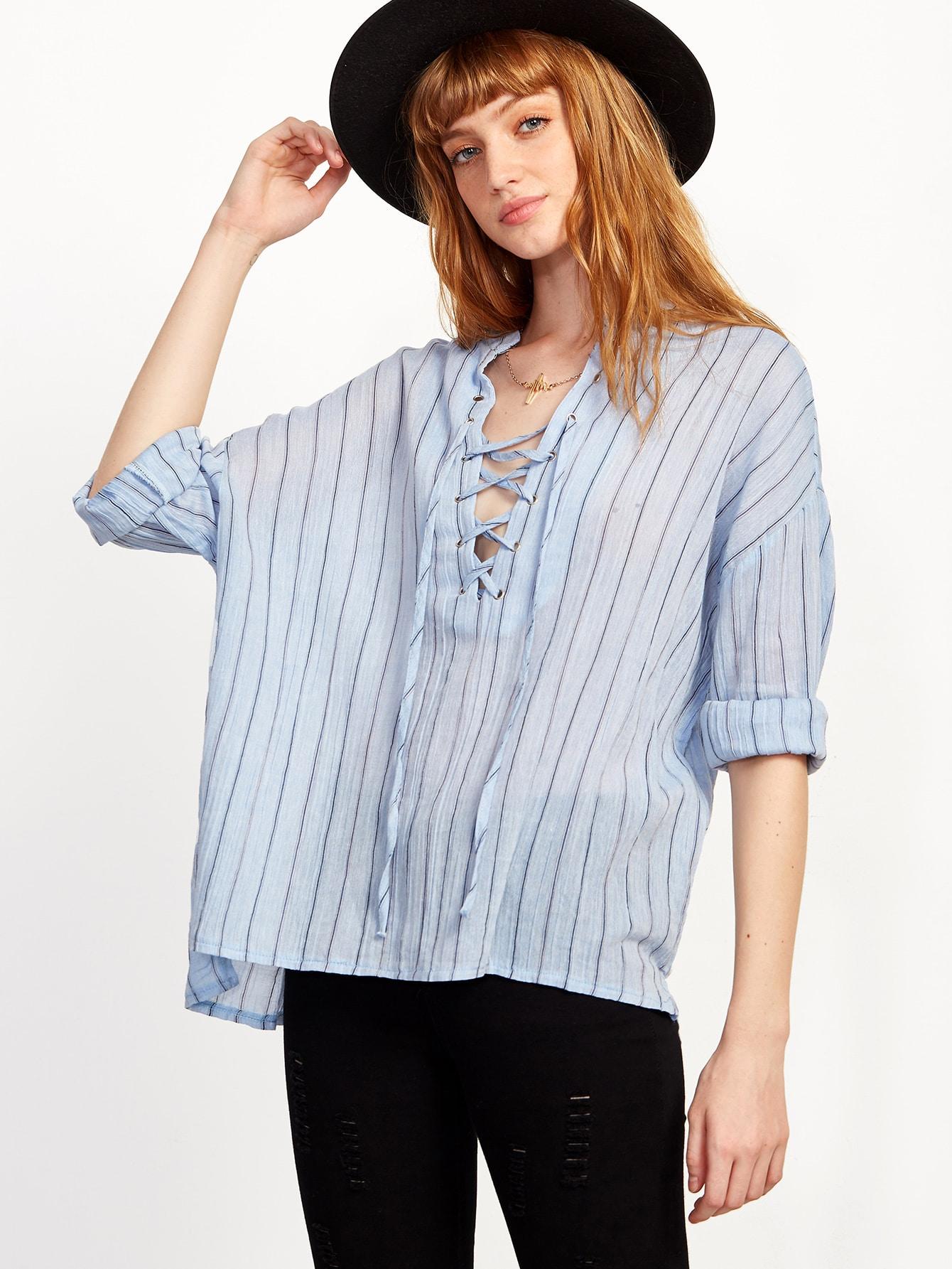 V Cut Lace Up Vertical Striped Blouse blouse160914403
