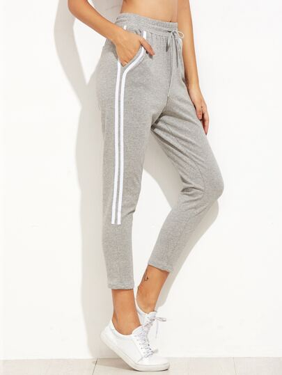 Grey Striped Side Drawstring Sport Pants