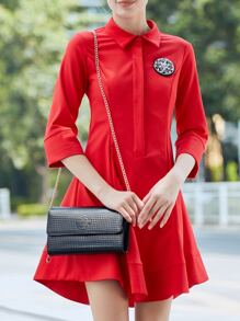 Red Lapel Beading A-Line Dress