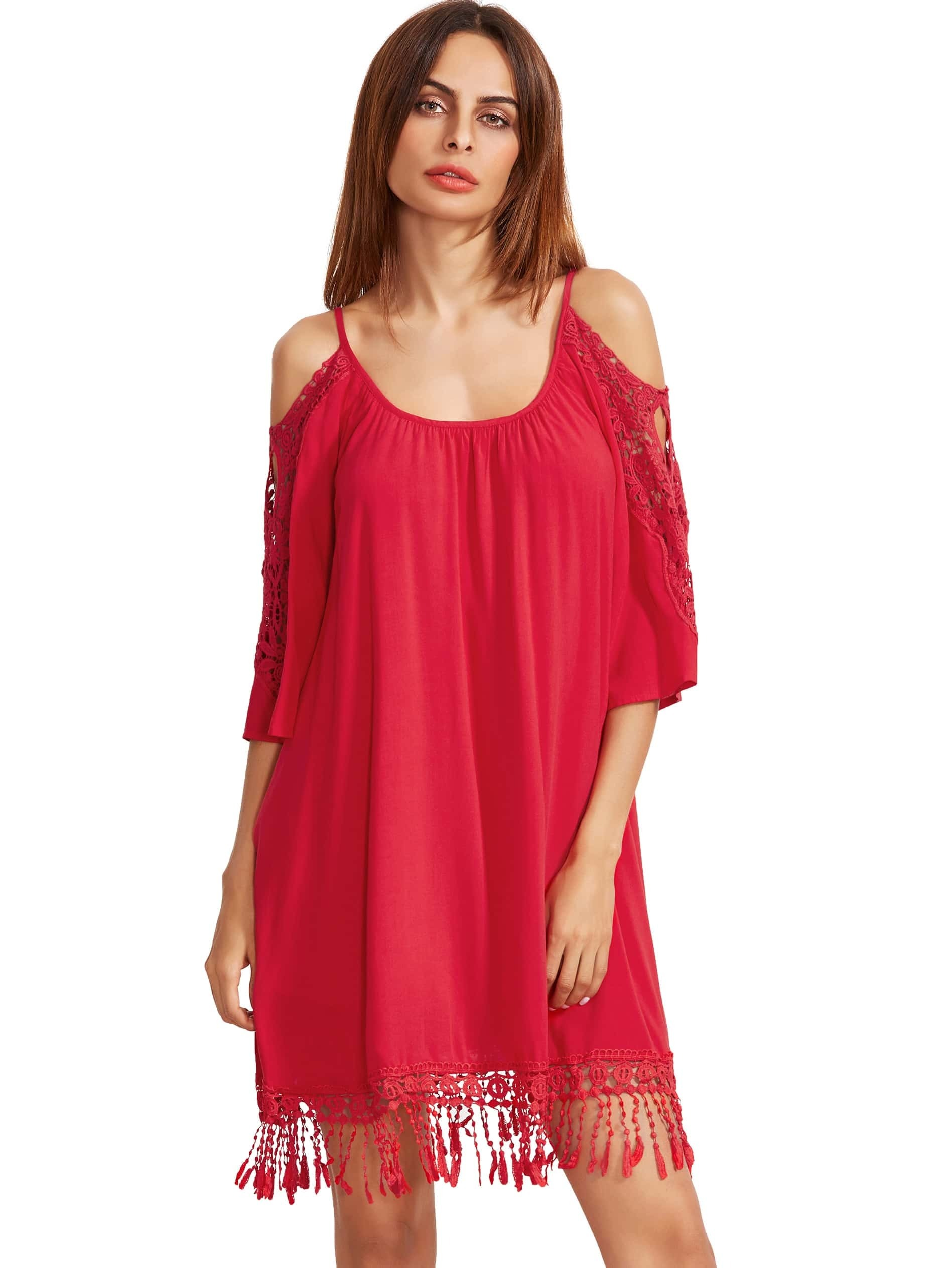 Red Open Shoulder Crochet Lace Sleeve Tassel Dress dress160928589