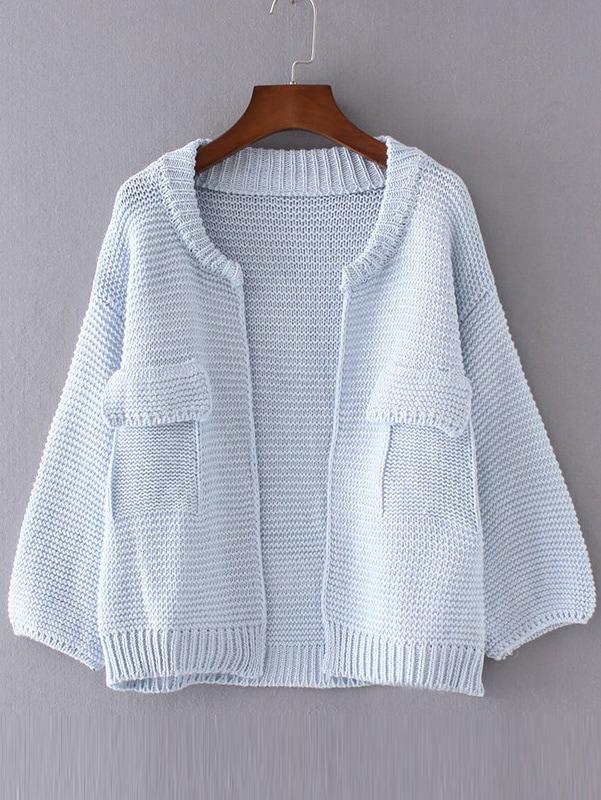 Blue Drop Shoulder Lantern Sleeve Pocket Cardigan sweater160902218