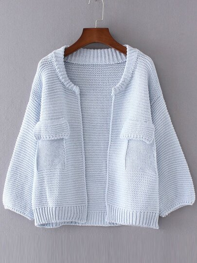 Blue Drop Shoulder Lantern Sleeve Pocket Cardigan
