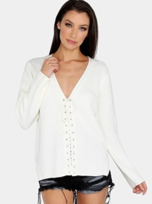 Eyelet Tie Knit Sweater IVORY