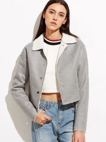 Grey Faux Shearling Button Up Crop Jacket
