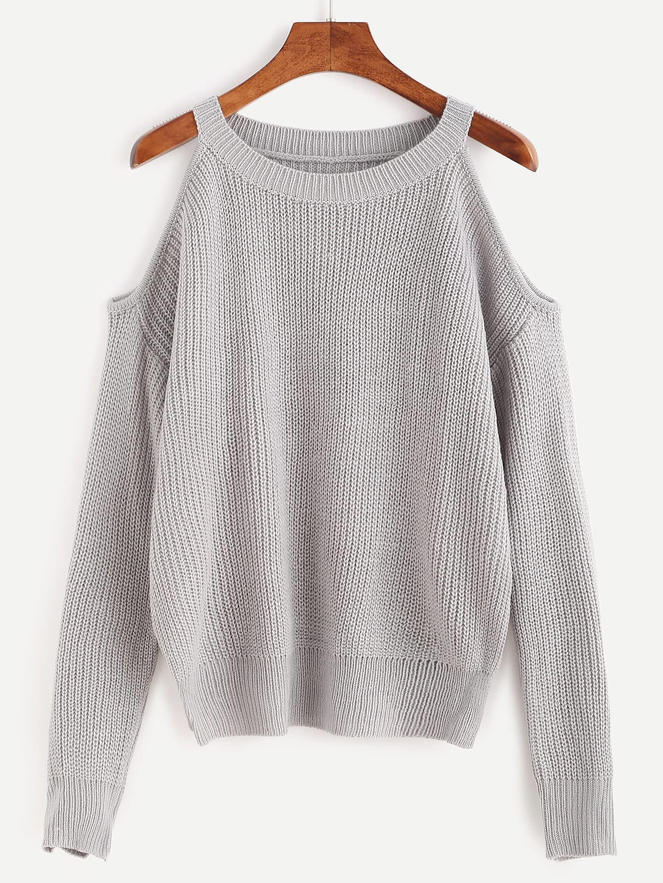 Open Knit Sweater Pattern : Open Shoulder Knit Sweater -SheIn(Sheinside)