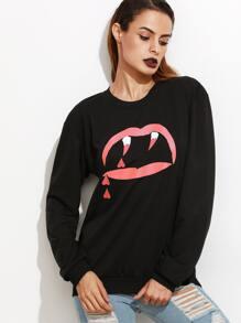 Black Graphic print Funny Sweatshirt