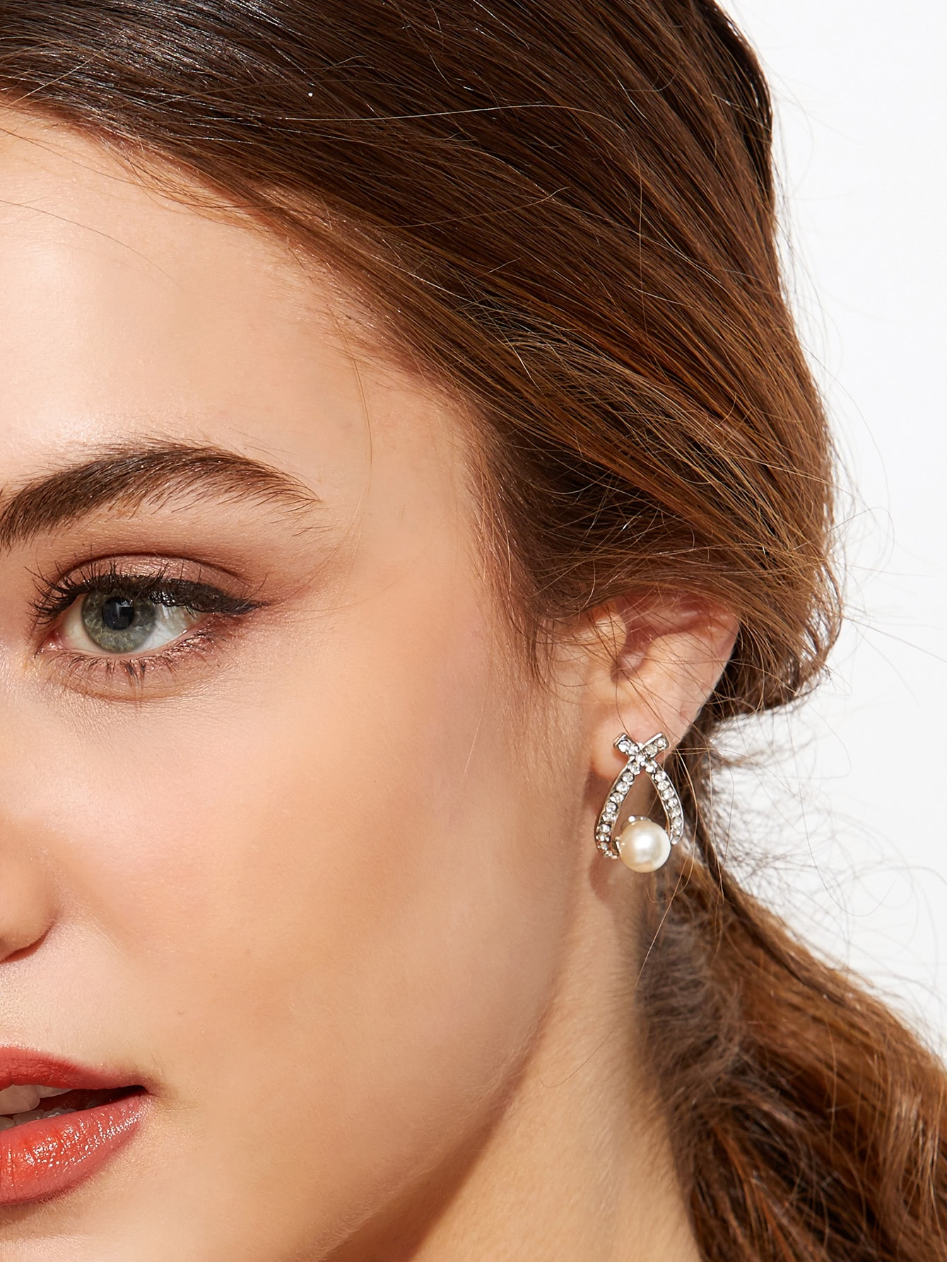 Silver Plated Faux Pearl Rhinestone Stud Earrings