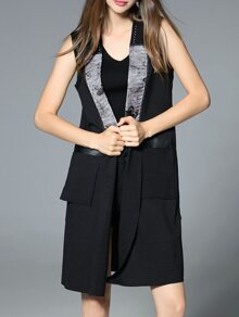 Black Print Pockets Contrast Pu Vest