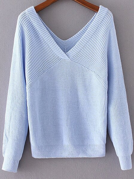 Blue Double V Neck Loose SweaterBlue Double V Neck Loose Sweater<br><br>color: Blue<br>size: one-size