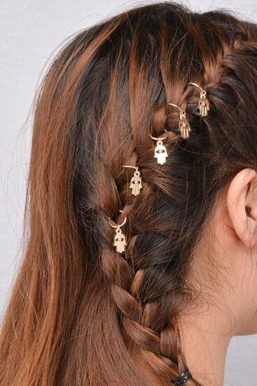 Accesorios para el pelo en forma de jamsa 5PCS - dorado