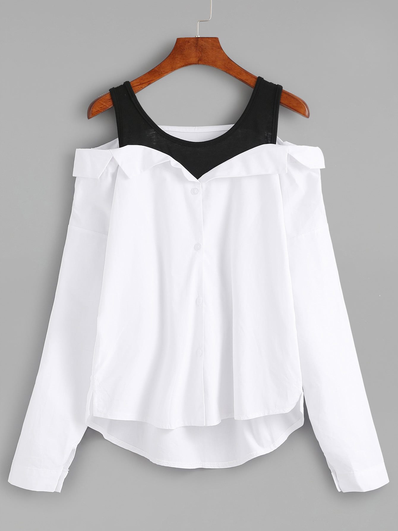 Fold Over Panel Cold Shoulder Blouse white cold shoulder asymmetricalâblouse