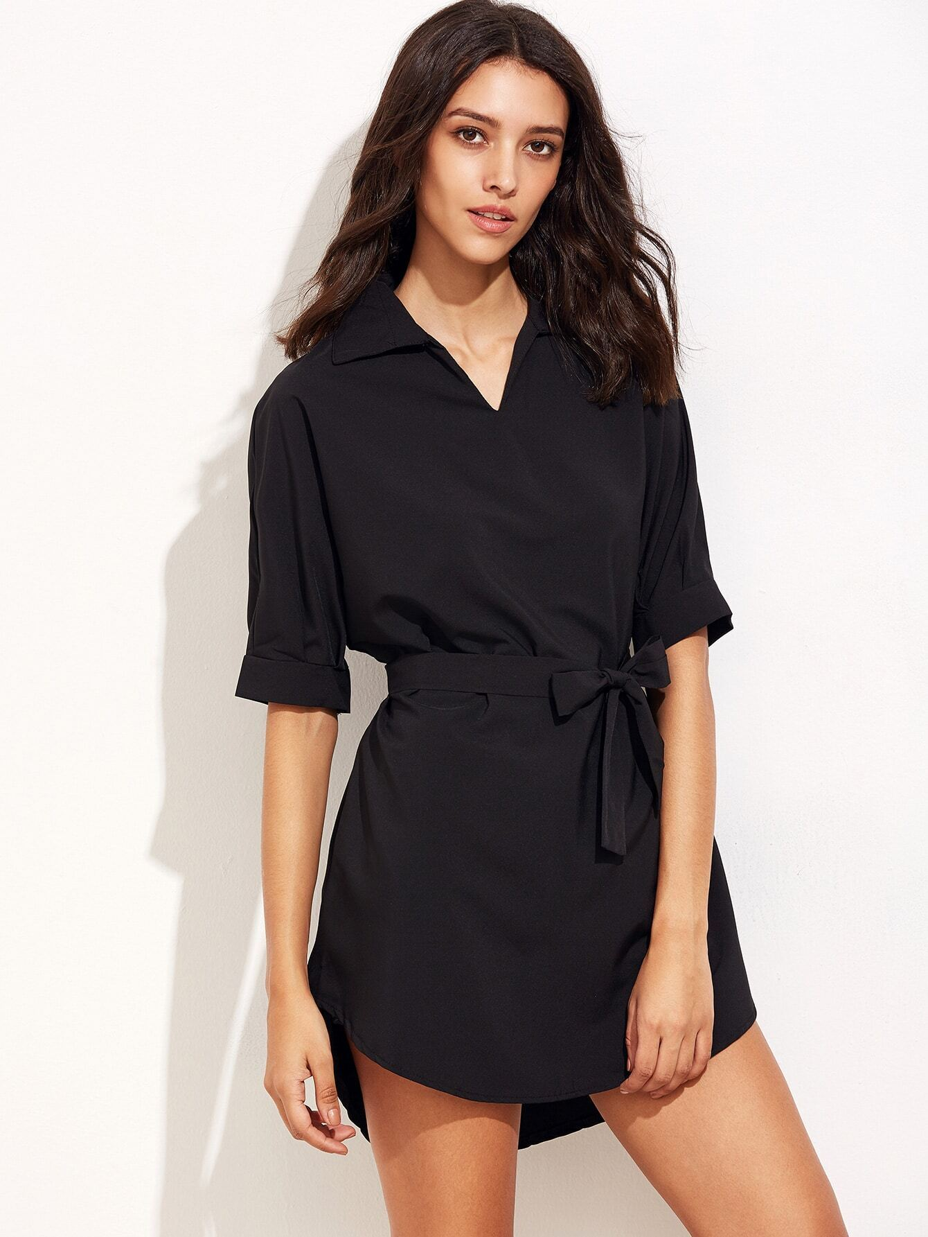 Black Batwing Sleeve Self Tie Shirt DressBlack Batwing Sleeve Self Tie Shirt Dress<br><br>color: Black<br>size: L,M,S