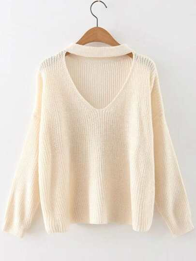 Beige Choker Neck Drop Shoulder Sweater