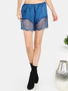 Satin Lace Shorts TEAL