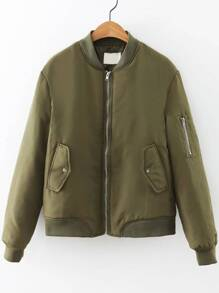 Army Green Quilted Flight Jacket With Zipper