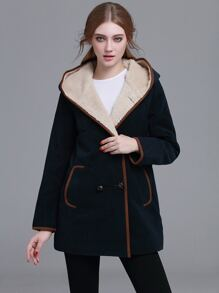 Navy Contrast Trim Sherpa Hooded Coat