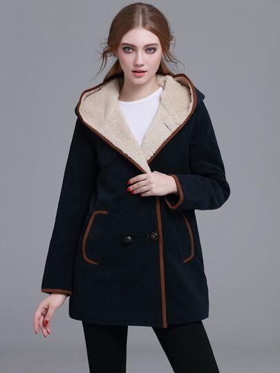 Contrast Trim Sherpa Hooded Coat
