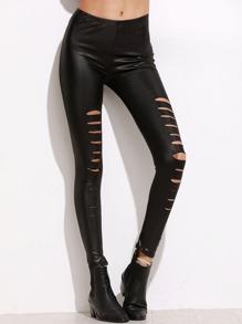 Black Elastic Waist Ripped Skinny Leggings