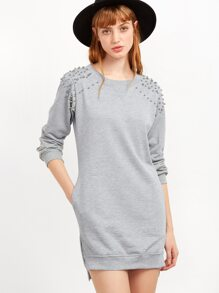 Grey Slit Side High Low Beading Sweatshirt Dress