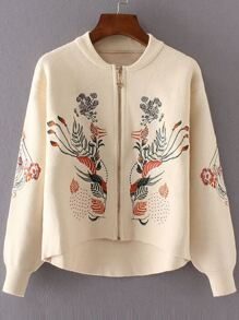 Beige Flower Embroidery Dip Hem Zipper Up Sweater Coat