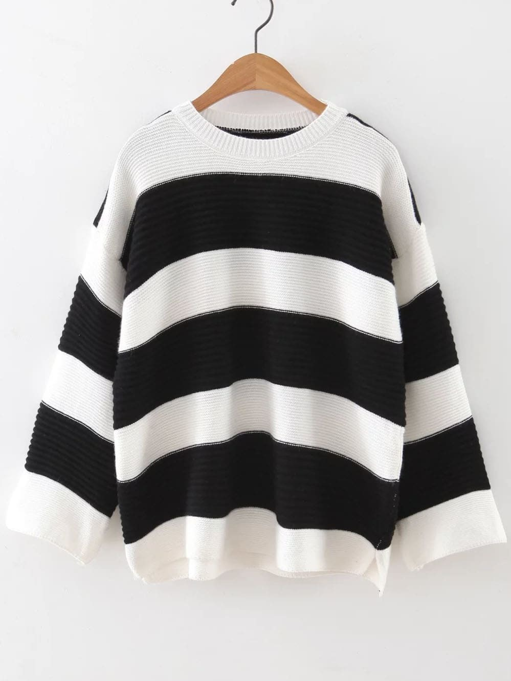 Black Striped Ribbed High Low Sweater sweater160920215