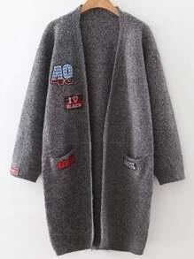 Dark Grey Patch Collarless Cardigan With Pockets