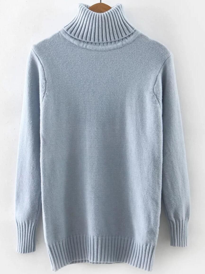 Blue Turtleneck Ribbed Trim Sweater sweater160922208