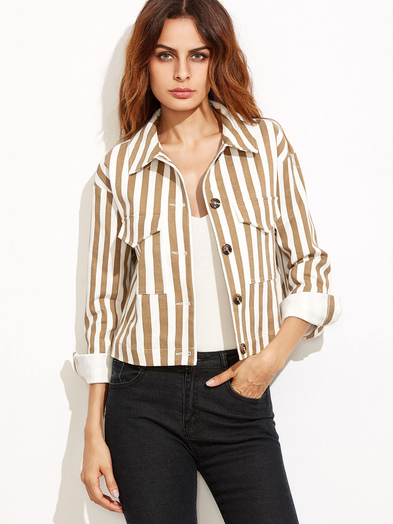 Coffee Vertical Striped Flap Pocket Front Button Up Jacket jacket160923703